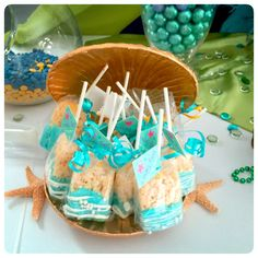 Little Mermaid Birthday Party Ideas Mermaid Party Favors, Mermaid Theme Birthday, Little Mermaid Birthday, Little Mermaid Parties, The Little Mermaid, 2nd Birthday Parties, Birthday Ideas, 4th Birthday, Moana Party