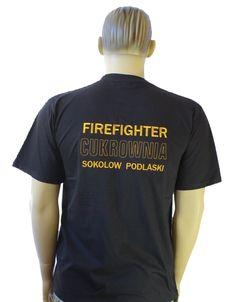 Koszulka strażacka, t-shirt z Twoim logo, Twój wzór, herb || Haft komputerowy, naszywki, emblematy, odzież strażacka. ||