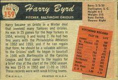 1955 Bowman #159 Harry Byrd Back