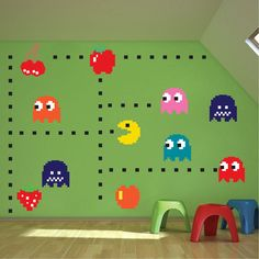 Pac-Man Stickers, Stickers muraux Atari, Pac man murales, décoration murale…