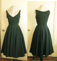 1940s 1950s Claire McCardell forest green dress by edgertor