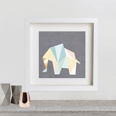 Image of KAMI. poster – geometric elephant