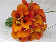 Orange Calla Lily with Beads and Greens