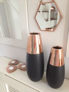 1fc5bce4c480 Contemporary Ceramic Rose Gold  Copper   Matte Black Vase ( 2 Sizes) in Home
