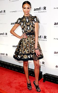 Not crazy about the patterened Louis Vuitton dress. But love the black Jimmy Choo sandals!