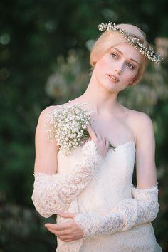 baby's breath crown and bouquet http://www.weddingchicks.com/2013/11/18/sareh-nouri-bridal-collection-2/