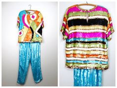 VERY RARE All Sequin Blouse & Pants Set / Stained Glass by braxae