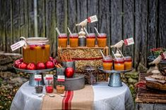 Apple Cider Bar with Cinnamon Sticks, Cloves, Cinnamon Candy. Catering