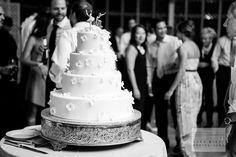 Black and White Photo of Wedding Cake on Dance Floor. Brooklyn Botanic Gardens, The Palm House Wedding. Brooklyn, NY. ©SaraWightPhotography