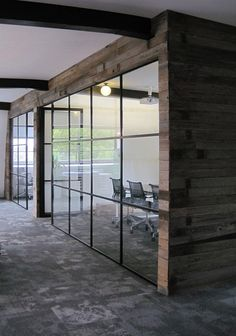 Suggestion: Timber cladding on the new partition wall exterior @ Meeting Rooms