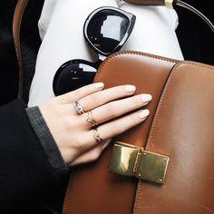 Céline Box Bag, The Row Sunglasses, Euna Joyce Rings | via Egg Canvas