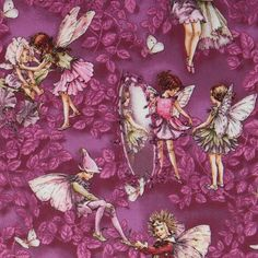 Michael Miller fabric Magical Evening purple fairy  cute purple fabric with flower fairies and purple leaves from the USA
