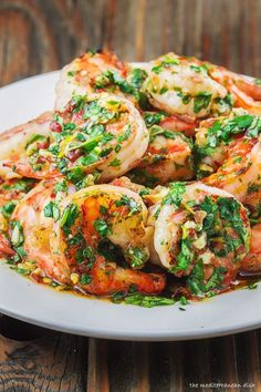 Grilled Shrimp with Roasted Garlic-Cilantro Sauce | http://www.themediterraneandish.com/grilled-shrimp-recipe-garlic-cilantro-sauce/