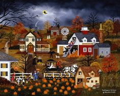 H&S Art Corp. - Charles Fazzino Jane Wooster Scott - Halloween Hi-Jinks [Lithograph] - Signed and Numbered by the artist Art Prints, Art Painting, Halloween Folk Art, American Folk Art, Americana Art, Naive Art, Painting, Art, Autumn Art