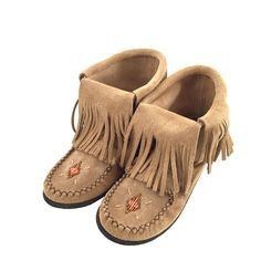 "- Description - Details - Sizing - These women's Inca moccasin boots are unique in style. They are authentic moccasin boots that reach above the ankle and are 6"" tall. What makes the so fashionable is"