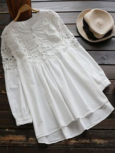 $21.49 Lace Spliced High Low Smock Dress - WHITE ONE SIZE