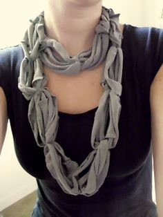 Tshirt Yarn Knotted Necklace Tutorial - Sugar Bee Crafts