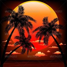 Warm Topical Sunset with Palm Trees #GraphicRiver A Peaceful and Warm Exotic Sunset, with a big Red Sun, Palm Trees, Clouds, and a quiet Ocean Horizon. Including Vector Layered files: – a file EPS v.10 – a file Ai v.10 – a file SVG (scalable vector graphics) – a Corel Draw v.10 and Raster file: – a file JPG 5000×5000 Created: 8September13 GraphicsFilesIncluded: VectorEPS Layered: Yes MinimumAdobeCSVersion: CS Tags: beauty #black #clouds #exotic #island #leisure #marine #nature #ocean…