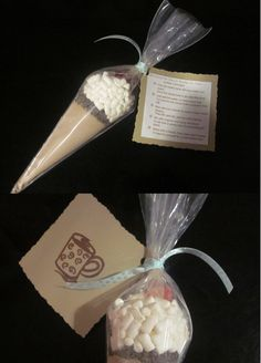 Hot Cocoa Cone Materials: cellophane pastry bag, 1/3 cup dried hot chocolate mix, 2 TBS. mini choc. chips, 3-4 TBS. mini marshmallows, 1 red gum drop, twist tie or rubber-band, ribbon, poem tag Poem: Hot Cocoa for You or Double for Two! This ice cream cone will sure make you warm. It's a hot cocoa treat in an odd little form. Just add hot water, or even some milk, For yummy hot cocoa that's smoother than silk. Now add your sweets to make it even more dreamy, Then stir, and stir,...