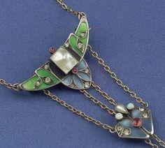 Jugendstil Silver, Enamel, and Gem-set Watch Pin and Chain