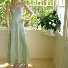 Vintage 70's Crocheted Maxi Dress Pretty Pastel by AquarianVintage, $120.00