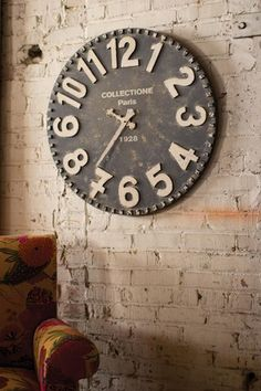 black and white wooden wall clock $129