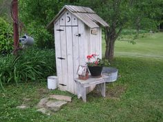 Primitive - out house look perfect for tool shed in the South.