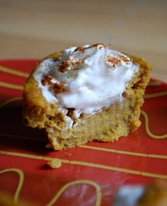 pumpkin pie cupcakes, tastes exactly like a mini pumpkin pie!  Would be good with a mini walnut crust... all in all though I probably still prefer plain ole pumpkin pie.  Can fill the muffin tins more because they don't rise, use all the batter for 12.