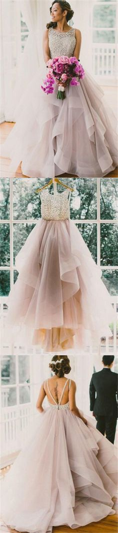 A line Scoop Neckline Organza Wedding Dresses, 2017 Long Custom Wedding Gowns, Affordable Bridal Dresses, 17115