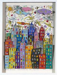 "Calm and Active Lines. Watercolor/oil pastel resist, marker and crayon, or cut paper collage. Insired by archtiectural art by James Rizzi and Paul Klee. -Limited Edition Print ""Overlooking the New York Skyline by James Rizzi Group Art Projects, Auction Projects, School Art Projects, Art Auction, Collaborative Art Projects For Kids, James Rizzi, Art Texture, 3rd Grade Art, Ecole Art"