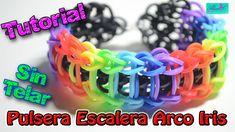 ♥ Tutorial: Pulsera Escalera de Arco Iris de gomitas (sin telar) ♥