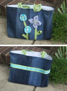 Tote with Flowers made from old jeans - idea only - no pattern
