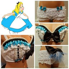 Alice Inspired Rave Bra and Bottoms Rave by PasseCostumeDesigns
