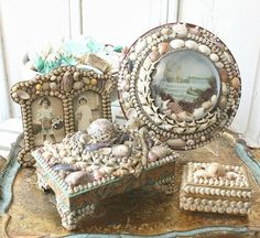 Secret Life of Antiques: Victorian Shell Work - French Garden House Beach Themed Crafts, Beach Crafts, Seashell Art, Seashell Crafts, Shell Ornaments, Snowman Ornaments, Shell Collection, Sea Glass Crafts, Wine Bottle Crafts