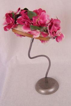 G. Howard Hodge 1960s pink flowered pillbox hat.