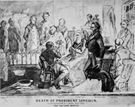 Another sketch of Abraham Lincoln's death bed by Hermann Faber. Since the 1960s the original has resided at the Philadelphia Museum of Art.