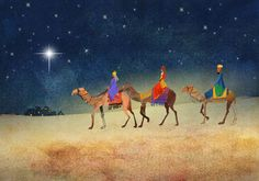 """the Three Wise Men bearing gifts by came. """"Journey"""" Charity Christmas Card - Own Message - Min 30 cards - Choose Charity"""