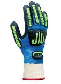 SHOWA™ Size 8 Heavy Duty Blue Nitrile Palm And Fingertip Coated Work Gloves With White Cotton And Polyester Liner And Knit Wrist