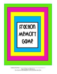 Number and Algebra, Fractions and Decimals - This fraction game is a fun way to review fractions throughout the year.  $ Download  Source: http://www.teacherspayteachers.com/Product/Fractions-Memory-Game-204636