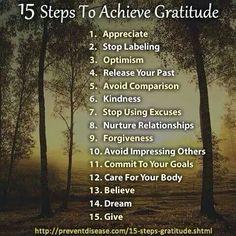 15 Steps to Achieve Gratitude #BeGrateful #Mindfulness #MindfulLiving www.OurMLN.com