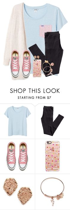 """""""I Woke Up Tangled In My 10ft Charger😂"""" by twaayy ❤ liked on Polyvore featuring Monki, Fraternity, H&M, Converse, Casetify, Kendra Scott and Alex and Ani"""