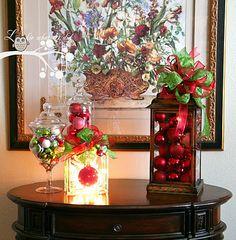 Christmas ornaments in lantern