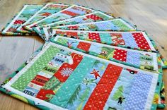 Modern Quilted Christmas Placemats Table by SophieBelleDesigns, 10.00