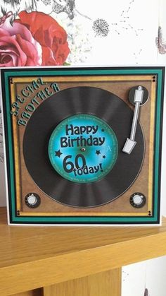 8 X 8 Birthday Record Scalloped Corner Topper 60th Birthday Ideas For Mom, Special Birthday Cards, 18th Birthday Cards, Masculine Birthday Cards, Birthday Cards For Men, Man Birthday, Masculine Cards, Men's Cards, Boy Cards
