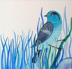Blue Bird / Bird Art / Blue Grass / Fantasy Art / Original Watercolor Painting / Wall Art /Room Decor /nursery decor / Blue via Etsy