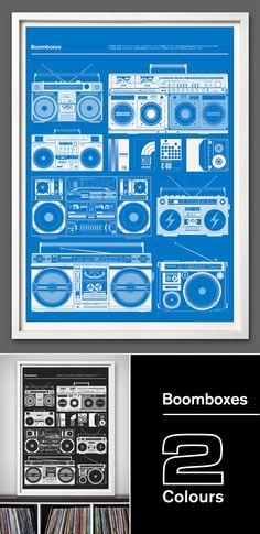 """New print launched today - """"Boomboxes' - The second in our 'Blueprint' series celebrates a time before music became personal, 'Boomboxes' were all about sharing music (if you liked it or not!) and were as important as graffiti during the birth of Hip Hop in the late 70's and early 80's. Certain models are very collectable like the JVC RC-M90 immortalised by LL Cool J's 1985 album 'Radio' and the Beastie Boys who were often photographed with it. The JVC RC-550 from the late 70's was nicknamed…"""