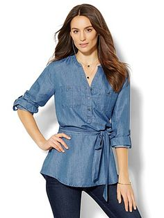 Shop Soho Soft Shirt Belted Popover - Chambray. Find your perfect size online at the best price at New York & Company.