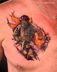 firefighter chest tattoo