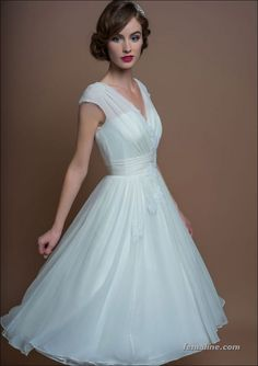 111 elegant tea length wedding dresses vintage (12)