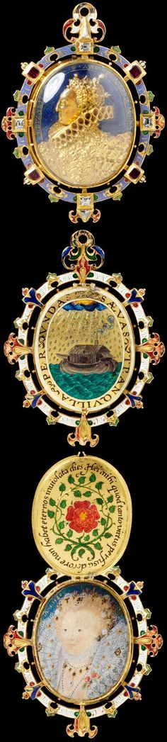Locket known as The Heneage Jewel or The Armada Jewel, painting by Nicholas Hilliard, about 1595. Museum no. M.81-1935 Anne Boleyn, Queen Of England, Henry Viii, Antique Locket, Antique Jewelry, Vintage Jewelry, Renaissance Jewelry, Ancient Jewelry, Medieval Jewelry